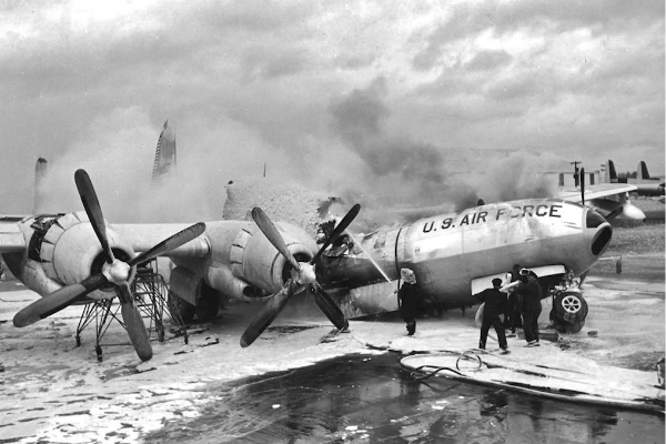 48-0052 broken and burned at Hayes Aircraft